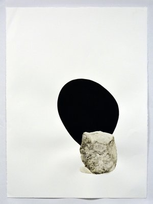 "stone with shadow, 2019 sumi ink, rock pigment, and lichen on paper 30"" x 22 ½"