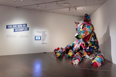 Installation view of Each/Other, with a joint work by Marie Watt and Cannupa Hanska Luger Photo: Denver Art Museum