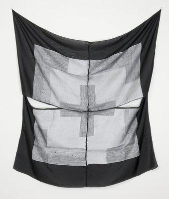 "flag (surrender 4), 2017, oil on silk, 46"" x 46"""