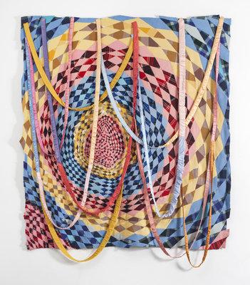 Marie Watt (Seneca Nation), Untitled (Dream Catcher), 2014, reclaimed wool blankets, satin binding, thread , 107 x 99.5 inches