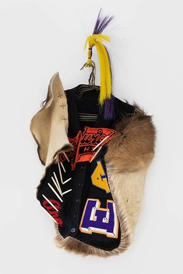 Natalie Ball, Breast Plate, 2019, Textiles, elk, hide, horsehair, metal. Dimensions variable. Courtesy of the artist.