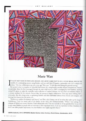 Marie Watt, Cowboys & Indians Magazine