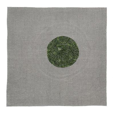 """Heather Watkins, still—holding, linen and silk thread, 15 ¾"""" x 15 ¾"""" (20"""" x 20"""" framed0"""
