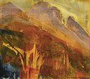 """James Lavadour, Golden, 2018, oil on panel, 28"""" x 32"""""""