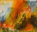 "James Lavadour, HOWL, 2020, oil on panel, 28"" x 32"""