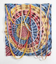 Marie Watt (Seneca Nation), Untitled (Dream Catcher), 2014, reclaimed wool blankets, satin binding, thread , 107 x 99.5 inches